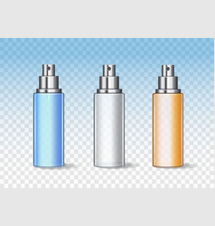 transparent realistic cosmetic bottles can sprayer vector image