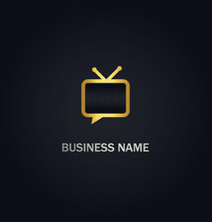 tv consulting talk gold logo vector image