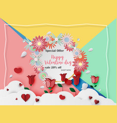 Valentine day card for sale banner template vector