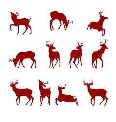 various silhouettes deer vector image