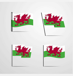 Wales waving flag set design vector