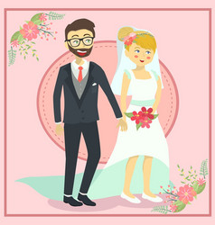 wedding couple holding hand vector image