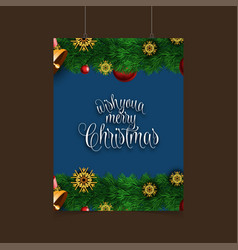 wish you merry christmas snowflake background vector image