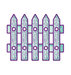 wooden fence protection barrier icon design vector image