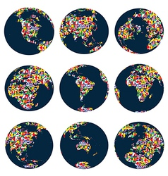 World globes with continents made world flags vector