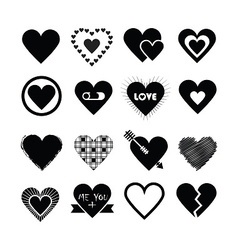 black silhouette valentines day hearts icon set vector image