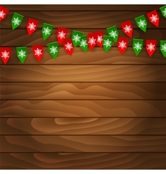 Bunting flag on wooden background vector image vector image