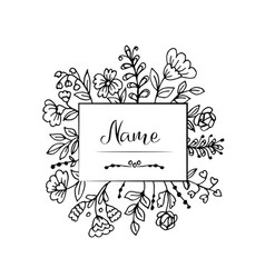 doodle flowers and leaves label vector image