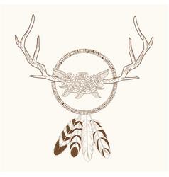 free spirit dream catcher horns rustic vector image