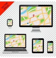 Modern technology devices with GPS map on screen vector image vector image
