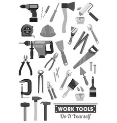 repair and construction work tools icons vector image