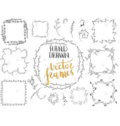 set of hand drawn floral frames and decorative vector image