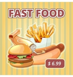 Vintage fast food menu poster vector image