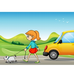 A girl with a dog walking along the street vector image vector image