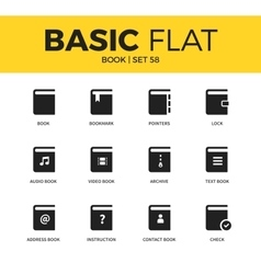 Basic set of book icons vector image