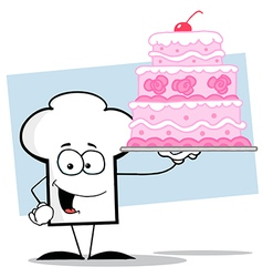Chef Hat Guy Holding A Pink Wedding Cake vector image vector image