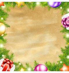 Christmas Retro Background With Xmas Fir Tree vector image