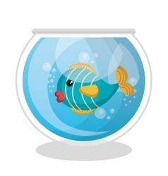 fish mascot in aquarium vector image