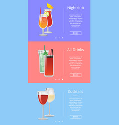 Nightclub drinks and cocktails vector