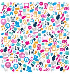 social media pattern icons vector image