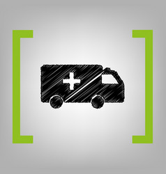 ambulance sign black vector image