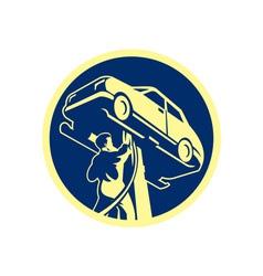 Auto mechanic automobile car repair retro vector