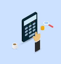 businessman makes calculations on a calculator vector image vector image