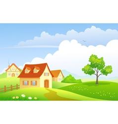 Cartoon village vector image vector image