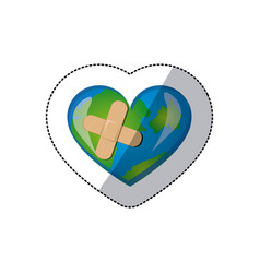 color earth planet heart with band aid icon vector image