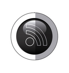 sticker black circular frame with wifi icon vector image