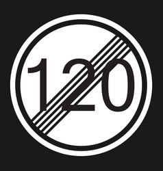 end maximum speed limit 120 sign flat icon vector image