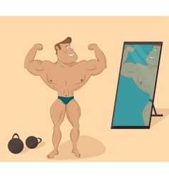 flat muscular sports man in the mirror Cartoon vector image vector image
