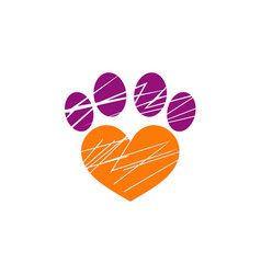 love pet dog foot logo vector image