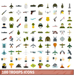 100 troops icons set flat style vector