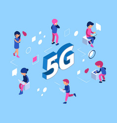 5g network concept isometric 5g wifi net vector image