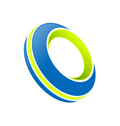 Abstract blue tire lime accents symbol logo design vector