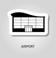 Airport black silhouette building sticker vector