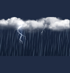autumn thunderstorm rain clouds and lightning vector image