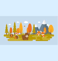 Autumn wild with tree and animals vector