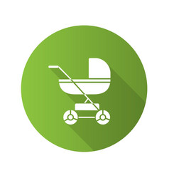 Baby carriage flat design long shadow glyph icon vector