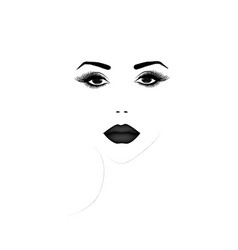 Beautiful woman face portrait black and white vector