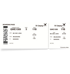 black and white boarding pass ticket vector image