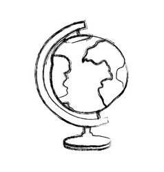 blurred thick silhouette of hand drawn earth globe vector image