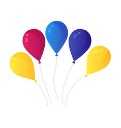 bunch air balloons group ball with ribbon vector image
