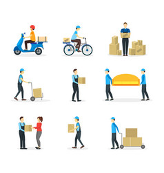 cartoon delivery workers set vector image