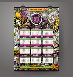 cartoon doodles halloween 2019 year calendar vector image