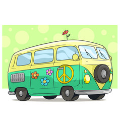Cartoon retro van bus with peace sign and flower vector