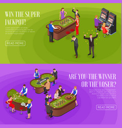 casino isometric banners vector image