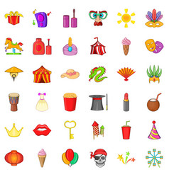 Celebration with gift icons set cartoon style vector