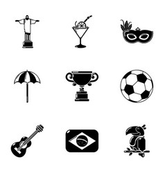 center of brazil icons set simple style vector image
